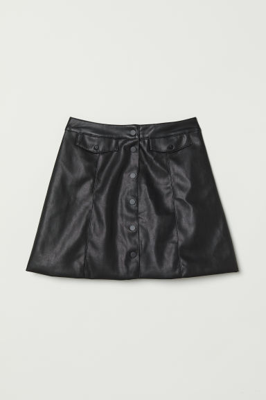 A-line Skirt - Black/faux leather -  | H&M US