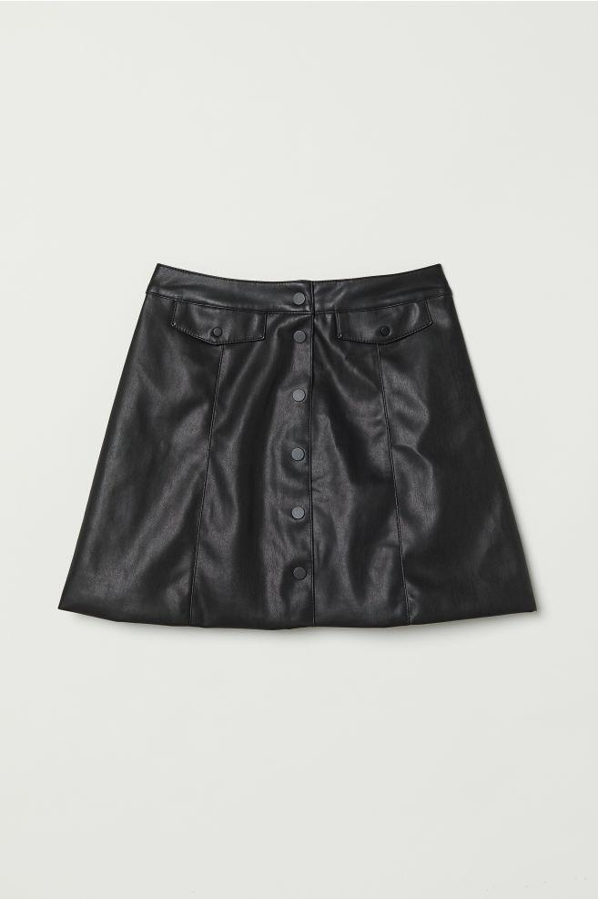 5b239bcc1c29 A-line Skirt - Black/faux leather - | H&M ...