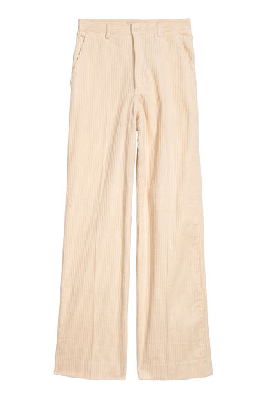 Wide corduroy trousers - Cream - Ladies | H&M CN