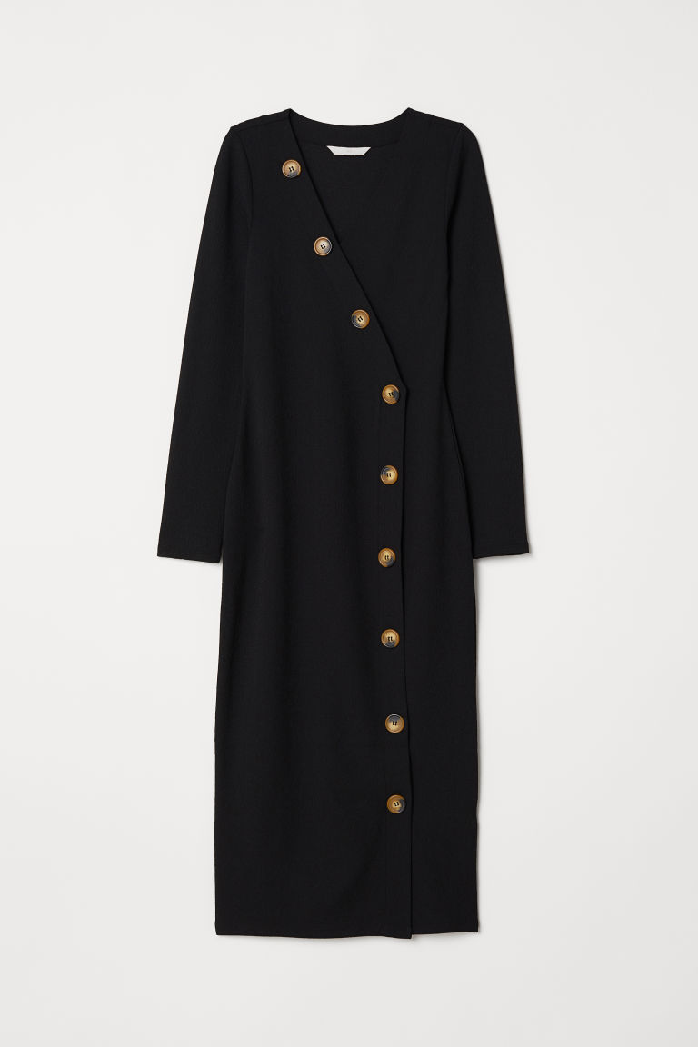 Dress with buttons - Black - Ladies | H&M CN