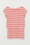 Coral/White striped