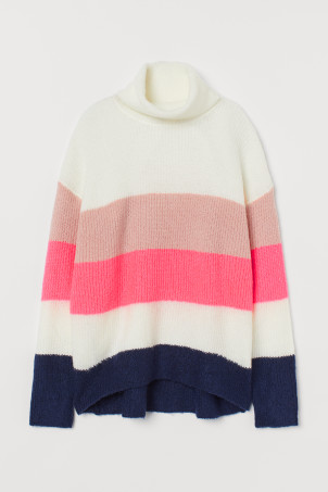 Knitted polo-neck jumper