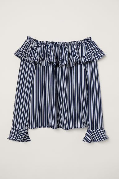 Off-the-shoulder blouse - Dark blue/Striped -  | H&M CN