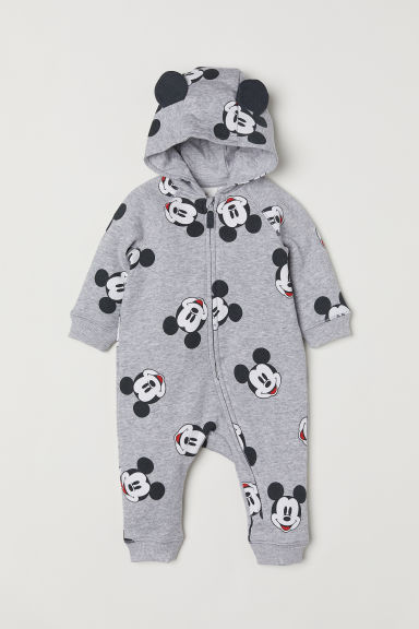 Hooded sweatshirt all-in-one - Grey/Mickey Mouse - Kids | H&M CN