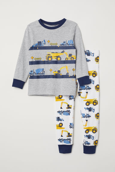 Jersey pyjamas - Light grey marl/Vehicles - Kids | H&M