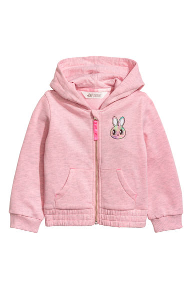 Printed hooded jacket - Light pink marl - Kids | H&M CN