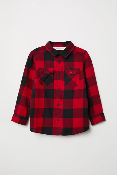 Flannel shirt - Red/Black checked - Kids | H&M CN