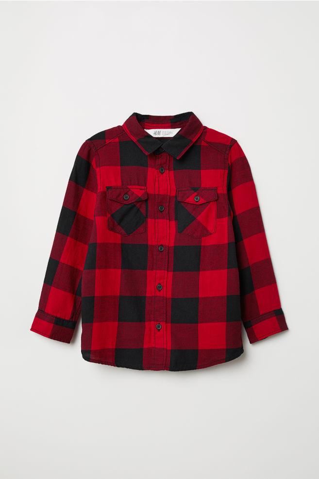 Overhemd Rood Zwart.Flanellen Overhemd Rood Zwart Geruit Kinderen H M Nl