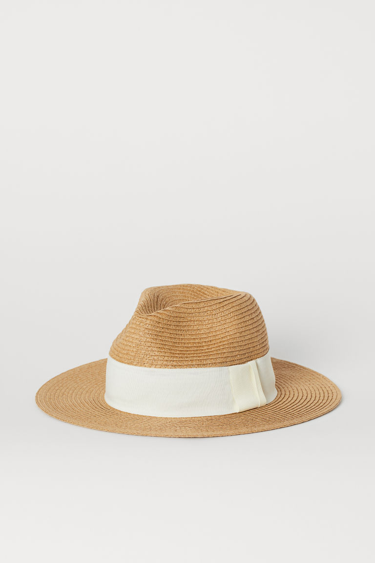 Straw Hat with Grosgrain Band - Beige - Ladies | H&M US