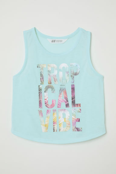Printed vest top - Light turquoise/Tropical Vibe - Kids | H&M