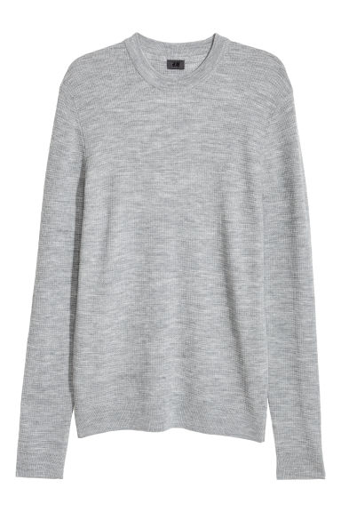 Textured wool-blend jumper - Grey -  | H&M