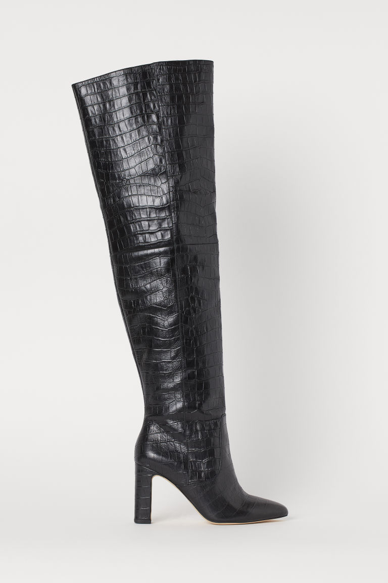 Leather thigh boots - Black - Ladies | H&M IN