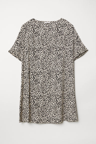 Short-sleeved dress - Light beige/Leopard print - Ladies | H&M