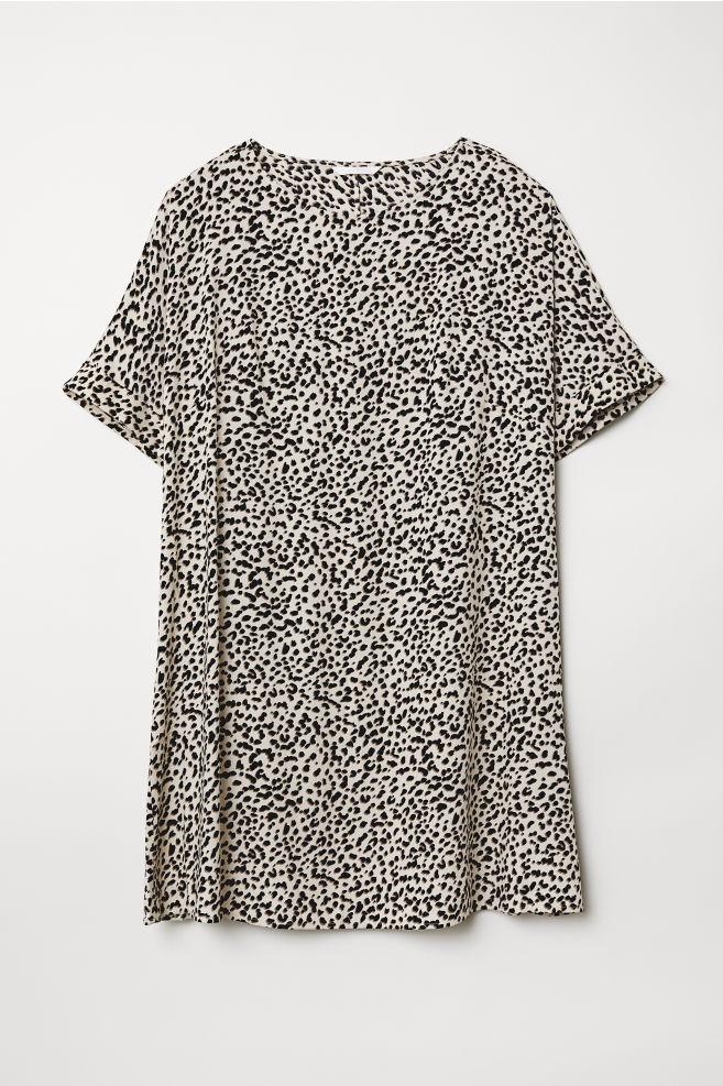 d437562e8a956 Robe à manches courtes - Beige clair motif léopard - FEMME