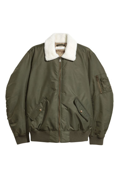 Pile-collared bomber jacket - Khaki green -  | H&M