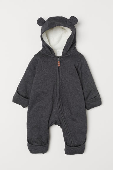 Pile-lined Overall - Dark gray - Kids | H&M US
