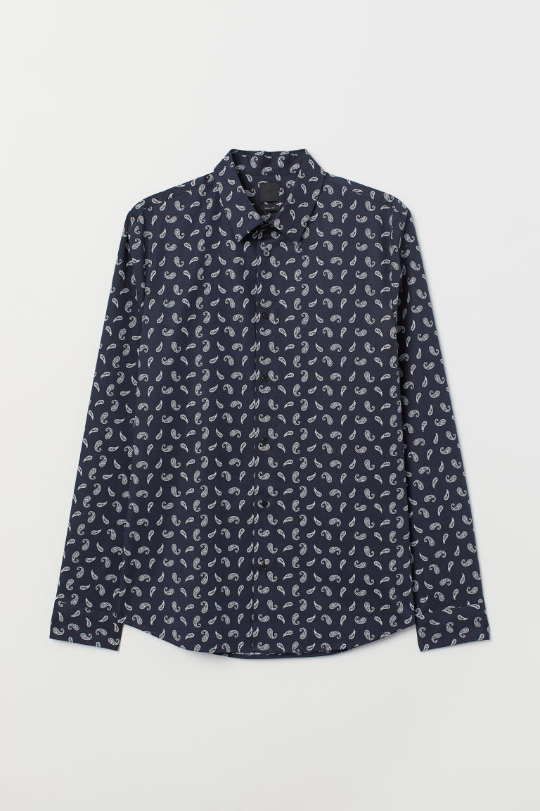 Shirt Muscle Fit - Dark blue/Paisley-patterned -  | H&M
