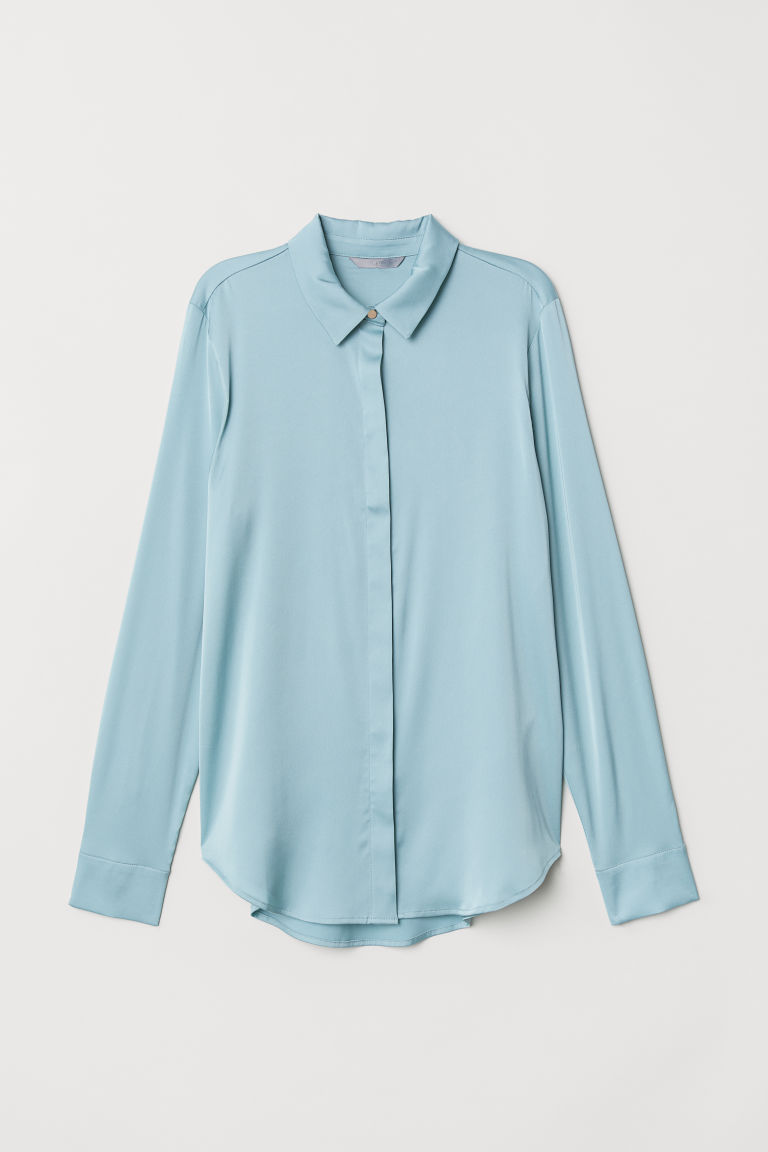 Long-sleeved blouse - Turquoise - Ladies | H&M