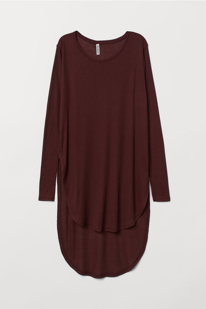 Langes Jerseyshirt - Weinrot - Ladies   H M ... 92b7a1c42c