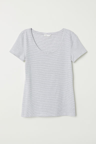 Jersey top - Natural white/Striped -  | H&M CN
