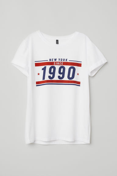 T-shirt with a motif - White/1990 - Ladies | H&M CN