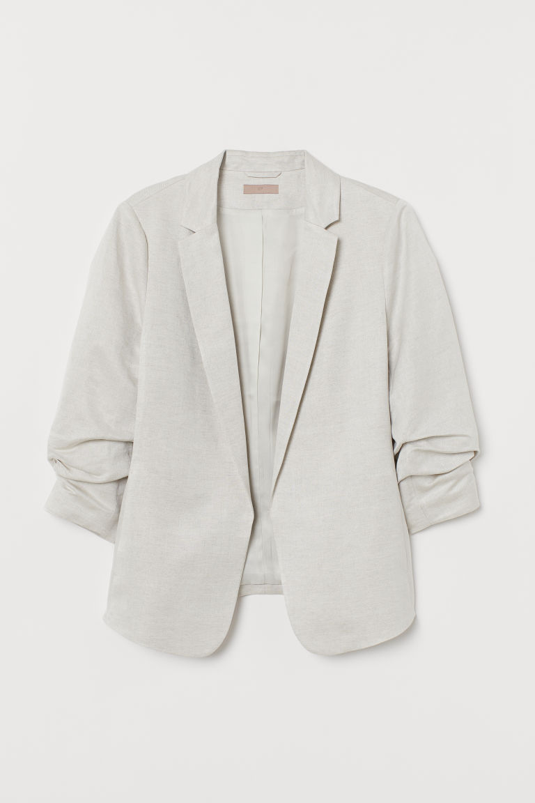 H&M+ Linen-blend jacket - Light beige - Ladies | H&M