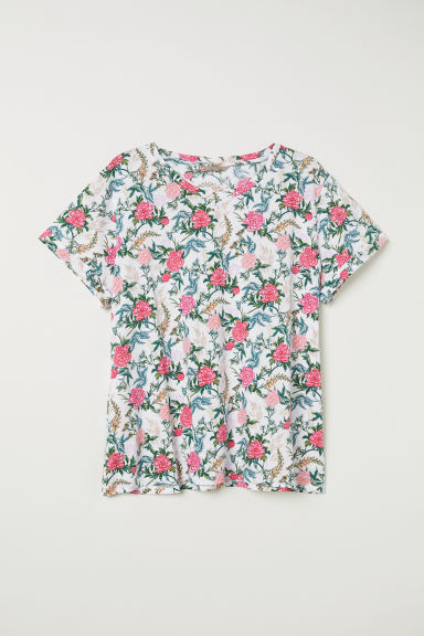 H&M+ Jersey top - White/Floral - Ladies | H&M