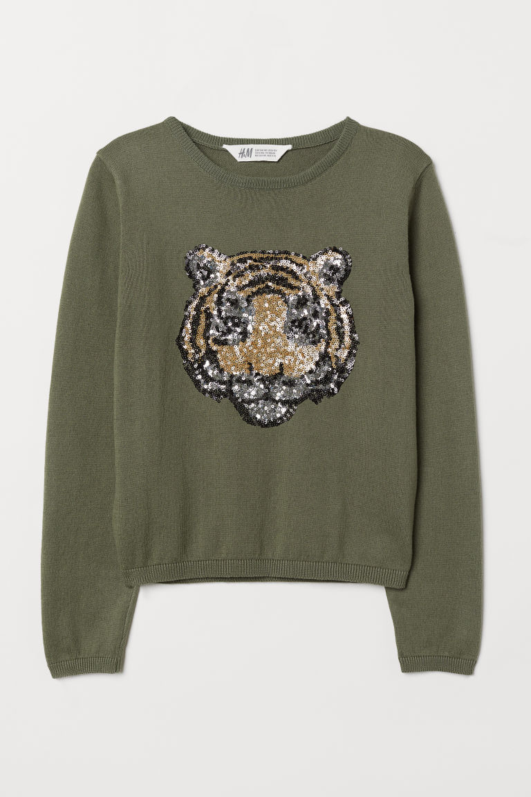Jumper with sequins - Khaki green/Tiger - Kids | H&M