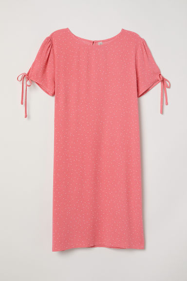 Puff-sleeved dress - Raspberry pink/Spotted - Ladies | H&M