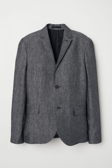 Linen jacket Slim fit - Black marl -  | H&M