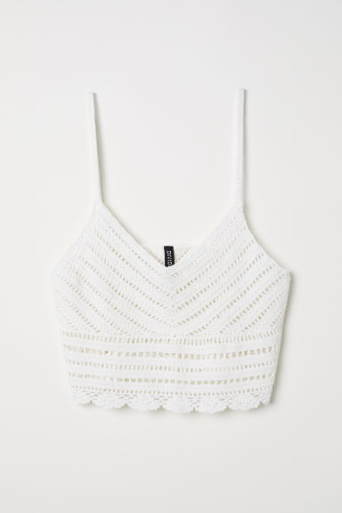 Crocheted top - White - Ladies | H&M CN