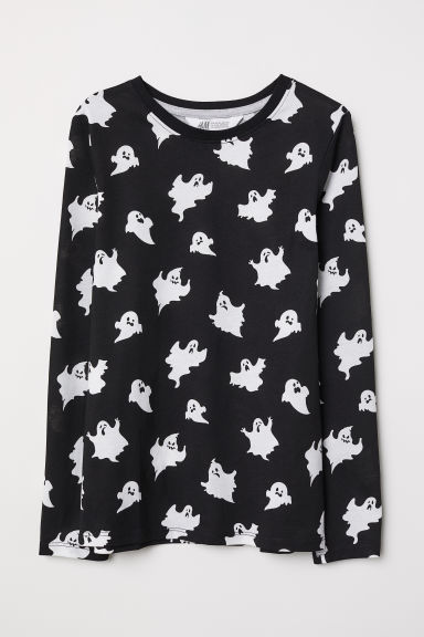 Printed top - Black/Ghosts - Kids | H&M CN