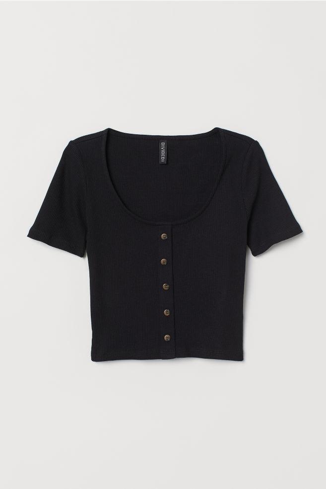 fb63b23973d0e1 ... Ribbed Top - Black - | H&M ...
