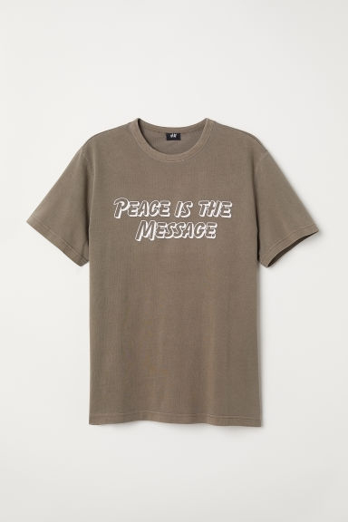 Text-print T-shirt - Khaki green - Men | H&M