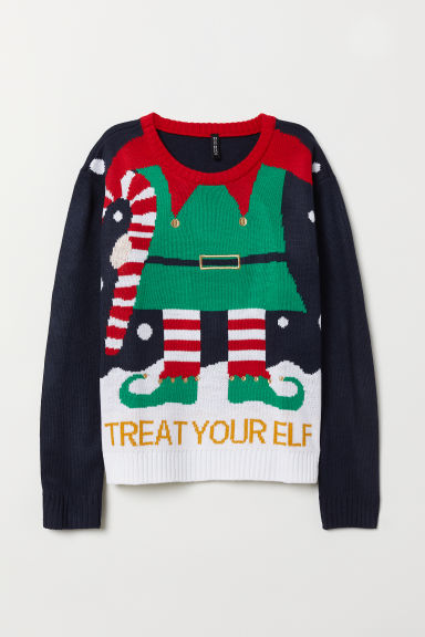 Knitted jumper - Dark blue/Treat Your Elf - Ladies | H&M CN