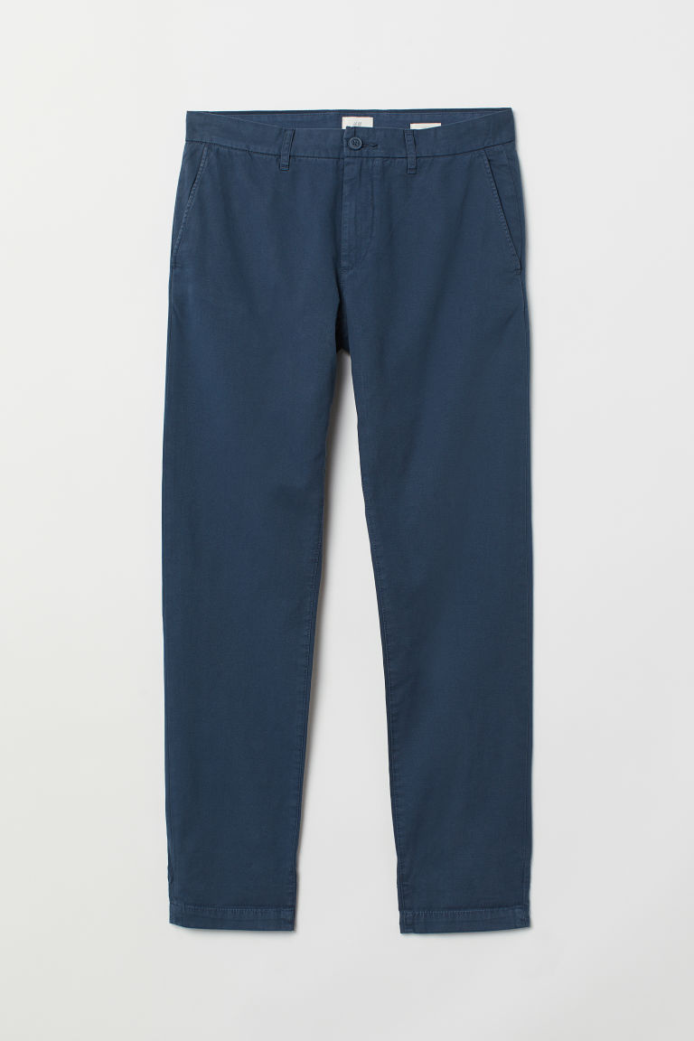 Cotton chinos Slim Fit - Blue - Men | H&M IN