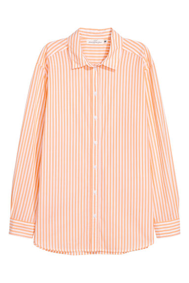 Cotton shirt - Light orange/White striped - Ladies | H&M CN