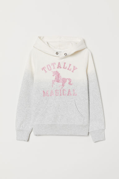 Hooded top with a motif - Light grey marl/Unicorn - Kids | H&M CN