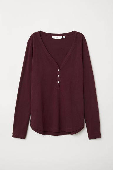 V-neck top - Dark red - Ladies | H&M CN