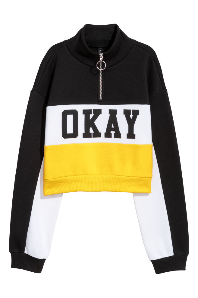 Kurzes Sweatshirt Gelbcolourblocking Damen Hm Ch