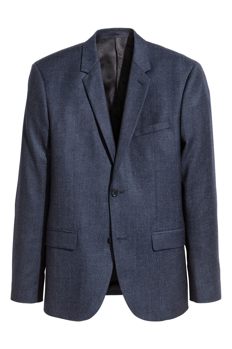 Blazer in lana Slim fit - Blu scuro mélange - UOMO | H&M IT