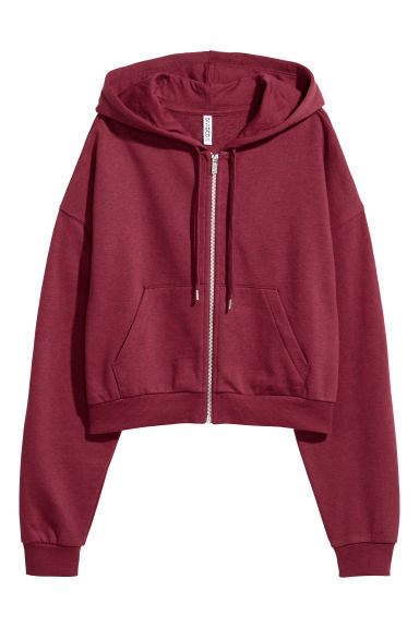 Short hooded jacket - Burgundy -  | H&M