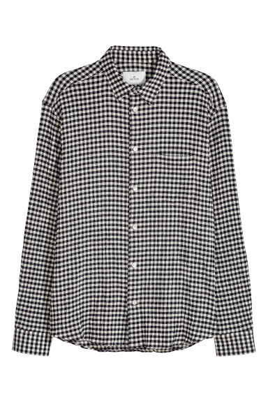 Patterned pima cotton shirt - White/Dogtooth -  | H&M