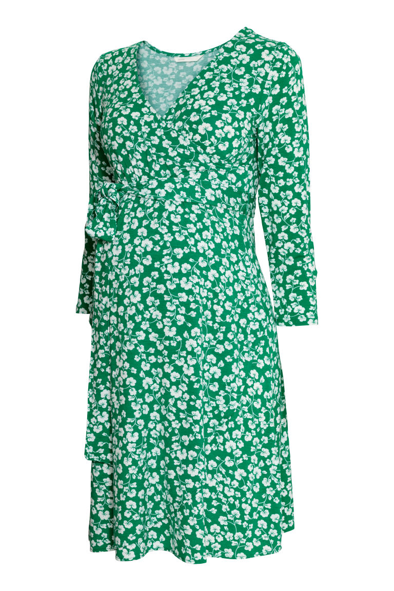 MAMA Jersey dress - Green/Floral - Ladies | H&M