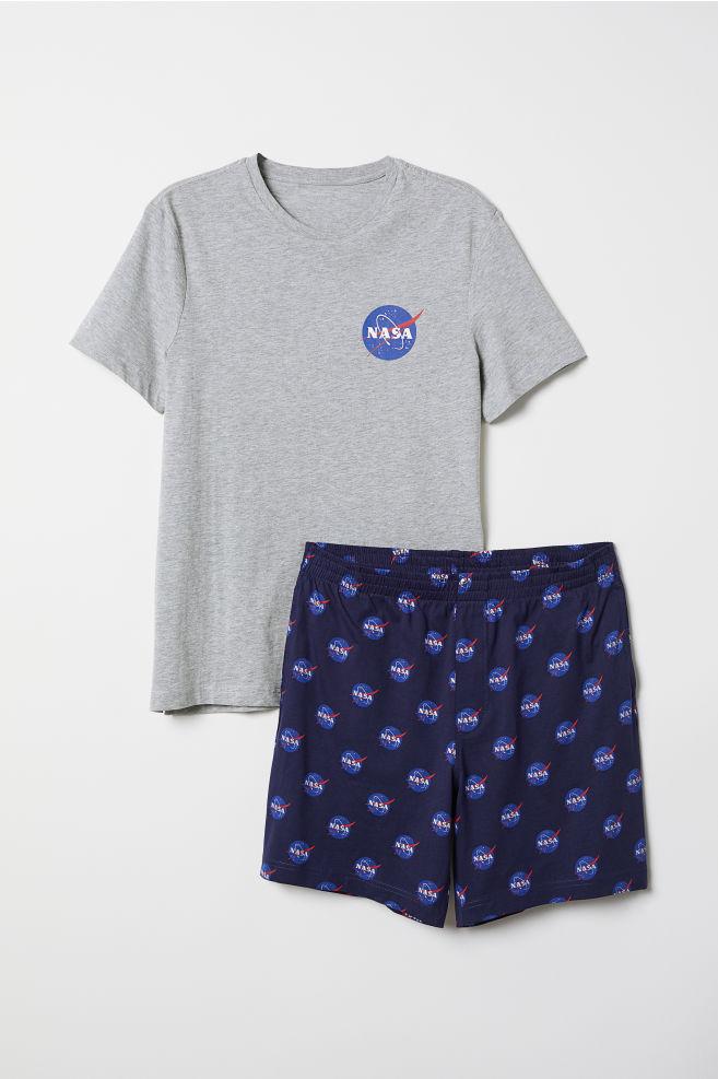 eea1d6a6df6aa Pyjama T-shirt and shorts - Grey marl/Blue - Men | H&M IN