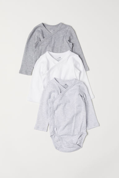 3-pack long-sleeved bodysuits - Light grey/Striped - Kids | H&M CN