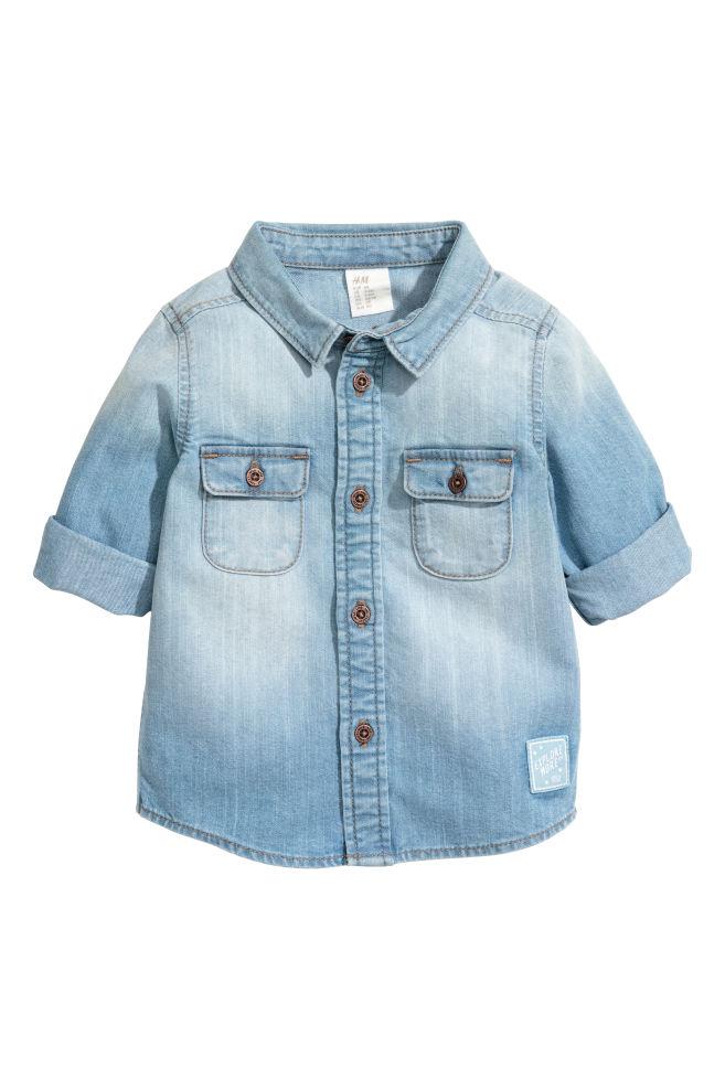Džínová košile - Bleděmodrá - DĚTI  7d5bd876d0