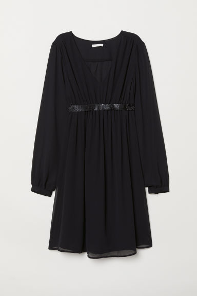 MAMA Dress with a sparkly belt - Black -  | H&M CN