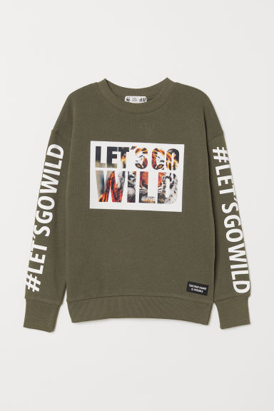 Printed sweatshirt - Khaki green - Kids | H&M