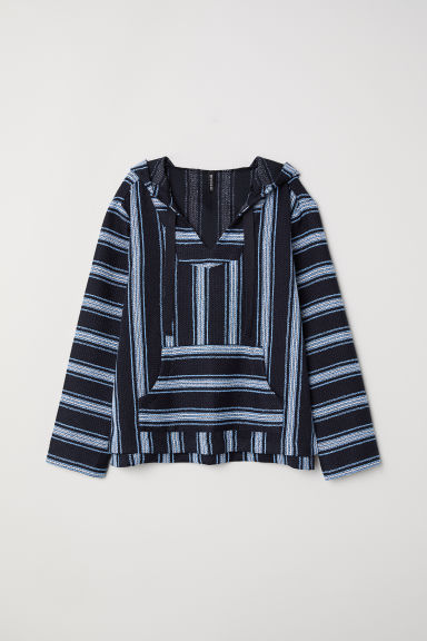 Jacquard-weave hooded top - Dark blue/Patterned -  | H&M